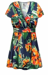 SALE! Plus Size Navy & Orange Tropical Floral Slinky MAGIC BABYDOLL Top Lg XL 1x 2x 3x 4x 5x 6x 7x 8x