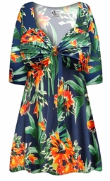 SALE! Plus Size Navy & Orange Tropical Floral Slinky Tie Babydoll Shirt Sizes Lg XL 1x 2x 3x 4x 5x 6x 7x 8x