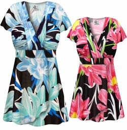 SALE! Plus Size Pink or Blue Floral Abstract Slinky MAGIC BABYDOLL Top L XL 1x 2x 3x 4x 5x 6x 7x 8x