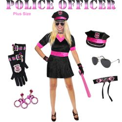 SALE! Plus Size Pink Police Officer Halloween Cop Costume and Accessory Kit! Sizes Lg XL 1x 2x 3x 4x 5x 6x 7x 8x 9x
