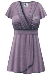 SALE! Plus Size Purple with Silver Glimmer MAGIC BABYDOLL Top Lg XL 1x 2x 3x 4x 5x 6x 7x 8x
