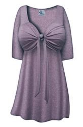 SALE! Plus Size Purple with Silver Glimmer Tie Babydoll Shirt Sizes Lg XL 1x 2x 3x 4x 5x 6x 7x 8x