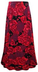 SALE! Plus Size Red Roses Print Maxi Slinky Skirt 2x