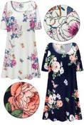 SOLD OUT! Plus Size Roses Print Extra Long Ultra Soft Brushed Poly Blend T-Shirts 4x