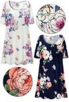 SOLD OUT! Plus Size Roses Print Extra Long Ultra Soft Brushed Poly Blend T-Shirts 7X