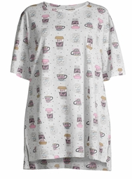 SALE! Plus Size Round Neckline Short Sleeve Coffee Sleepshirt Size 2x/3x