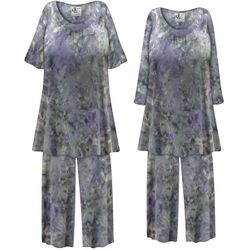 SALE! Plus Size Soft Purple Gray Abstract Print 2 Piece Pajama Pant Set 1x