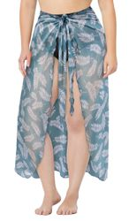 CLEARANCE! Plus Size Stretchy Sheer Leaf Print Sarong - Pareo Swimsuit Coverup 6x