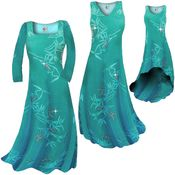 SALE! Plus Size Teal & Silver Sparkly Bamboo Slinky Print Short or Long Sleeve Dresses & Tanks XL