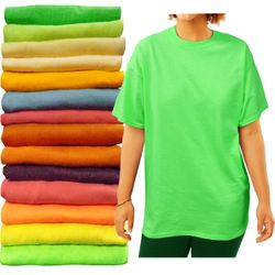 Plus Size Unisex Green Yellow Blue Red Rust Plum Pink or Orange Short Sleeve T-Shirt