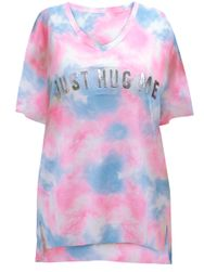 SALE! Plus Size V-Neckline Short Sleeve Pink And Blue Clouds JUST HUG ME Sleepshirt Size 2x/3x