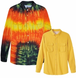 SALE! Plus Size Extra Long Yellow or Tie Dye Long Sleeve Cotton Flannel Shirt Jacket 4x 5x 6x