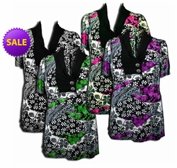 CLEARANCE SALE! Pretty Black - Purple - Gray - Green - Fucshia Pink Slinky Print Plus Size Tops! 4x