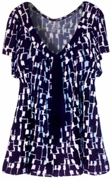 SOLD OUT! Pretty Black & White Slinky Print Mock Necktie Tunic Top