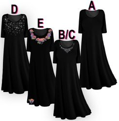 SOLD OUT! CLEARANCE! Plus Size & Supersize Princess Cut Dresses Poly/Cotton Black 0x