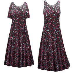 CLEARANCE! Plus Size Skulls N' Roses Print Princess Cut Poly/Cotton Jersey Dress 0x