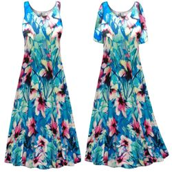 CLEARANCE! Plus Size Blue & Pink Floral Print Princess Cut Poly/Cotton Jersey Dress 8x