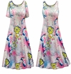 CLEARANCE! Plus Size Heathered Floral Print Princess Cut Poly/Cotton Jersey Dress 4x