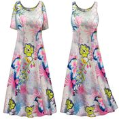 SOLD OUT! Plus Size Heathered Floral Print Princess Cut Poly/Cotton Jersey Dress 3x