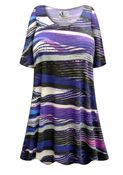 SOLD OUT! Purple Abstract Lines Plus Size & Supersize Extra Long T-Shirt 3x