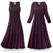 SOLD OUT! Purple Glimmer Plus Size & Supersize Standard or Cascading A-Line or Princess Cut Slinky Print Dresses 3x