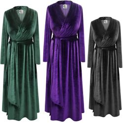 NEW! Black Purple or Green Smooth Velvet Robe With Attached Belt - Plus Size Supersize 0x 1x 2x 3x 4x 5x 6x 7x 8x 9x