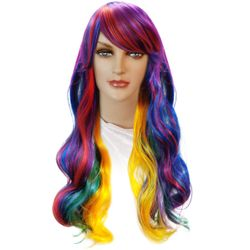 SALE! Rainbow Dreams Long Wavy Side Bangs Cosplay Adult Women's Wig