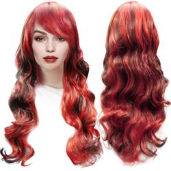 SALE! Red & Black Long Side Bangs Cosplay Adult Women's Wig