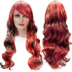 NEW! Red & Black Long Side Bangs Cosplay Adult Women's Wig