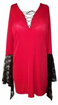 SALE! Red & Black Plus Size Gothic Witchy Bell Sleeve Extra Long Shirt Supersize Halloween Costume XL 0x 1x 2x 3x 4x 5x 6x 7x 8x