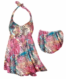 SOLD OUT! Red & Blue Animal Skin Paisley Print Plus Size 2pc Halter SwimDress 2x