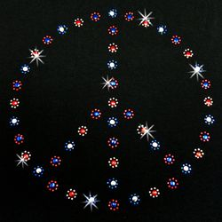 SALE! Red White & Blue Peace Sign Rhinestud Rhinestones Plus Size & Supersize T-Shirts S M L XL 2x 3x 4x 5x 6x 7x 8x 9x (All Colors)