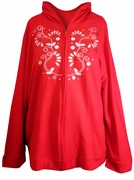 SOLD OUT! Red & White Embroidered Plus Size Hooded Zippered Sweatshirt Hoodie 3x 26w 28w