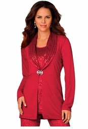 CLEARANCE! Ruby Red Sequined Sparkly Velour Plus Size Duster Jacket 4x