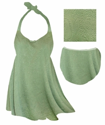 SOLD OUT! Plus Size Sage Green Embossed Paisley Print Straps Style Swimsuit/SwimDress or Swim Bottoms 1x