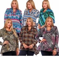 SALE! Slinky Shark Tail Plus Size Shirts! Long Sleeve Cowl Neck Tops - Plus Sizes 4x
