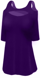 SOLD OUT! FINAL SALE! Solid Purple Cotton with Shoulder & Chest Cutout 3/4 Sleeve Plus Size Fashion Top 3x
