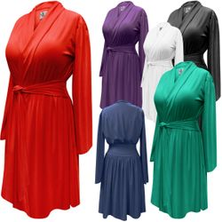 SALE! Solid Color Poly/Cotton Short Robe With Attached Belt - Plus Size Supersize 0x 1x 2x 3x 4x 5x 6x 7x 8x 9x