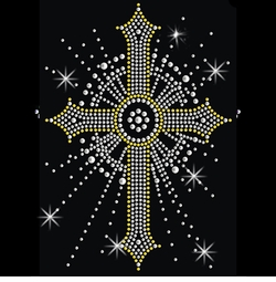 SALE! Sparkly Rhinestud Rhinestones Silver & Gold Cross Plus Size & Supersize T-Shirts S M L XL 2x 3x 4x 5x 6x 7x 8x 9x (All Colors)