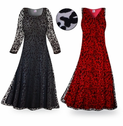 SOLD OUT! CLEARANCE! Stunning! Black Sheer Sparkling Leopard Velvet Lace Plus Size & Super Size Dress 2x