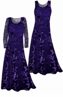 SOLD OUT! Stunning! Sheer Black & Purple Velvety Flocked Plus Size Dresses XL 3x 5x