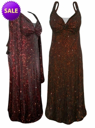 SOLD OUT! FINAL SALE! 2-Piece Stunning Sparkly Red & Orange Dots Plus Size & SuperSize Princess Seam Dress Set 4x ONLY