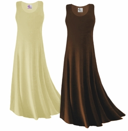 CLEARANCE! Plus Size Brown or Tan Slinky Tank Dress 0x 1x