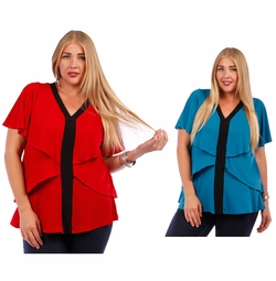 SOLD OUT! Teal or Red Plus Size Layered Ruffled Slinky Top 4x 5x