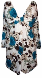 SOLD OUT! FINAL SALE! Teal Roses Beige Crinkle Sexy Low-Cut Flutter Sleeve  2x