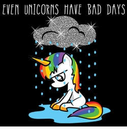 SOLD OUT! Even Unicorns Have Bad Days Glitter Plus Size & Supersize T-Shirts S M L XL 2x 3x 4x 5x 6x 7x 8x 9x (Medium/Dark Colors)