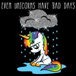 SALE! Even Unicorns Have Bad Days Glitter Plus Size & Supersize T-Shirts S M L XL 2x 3x 4x 5x 6x 7x 8x 9x (Medium/Dark Colors)