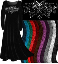 CLEARANCE! Velvet Rhinestud or Plain Velvet Plus Size & Supersize Dresses and Tops xl 0x 3x 4x