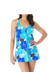 SOLD OUT! Vibrant Blue Floral Skirted Plus Size Swimsuit