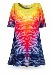 SALE! Volcano Tie Dye Plus Size & Supersize X-Long T-Shirt 0x 1x 2x 3x 4x 5x 6x 7x 8x